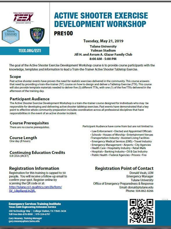 Save-the-Date: Tulane / TEEX / FEMA PRE100 Active Shooter